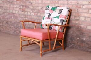 Heywood Wakefield Mid-Century Modern Hollywood Regency Bamboo Rattan Chair