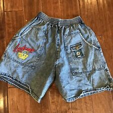 Vintage 80s elastic waist denim jean shorts La Lakers embroidered small