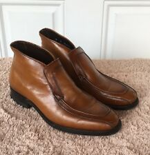 Vtg Nunn Bush Men's Sz 8 D Brown Leather Casual Ankle Boots Dress Slip On