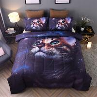 Galaxy Bedding Sets Cute Kitten Cat Print Full Size Comforter Set for Kids Teens