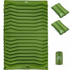 New listing Camping Sleeping Pad with 2 Air Pillows, Extra Thick 3.93 Inch Self Green