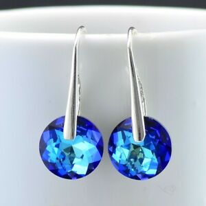 925 Sterling Silver Hook Earrings 10mm Round Crystals from Swarovski®