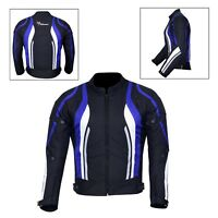 New Men's Motorcycle Motorbike Jacket Waterproof Textile With CE Armoured Blue
