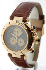 Cartier Pasha 35mm Chronograph 18K Yellow Gold Quartz Mens Wrist Watch