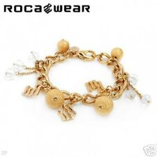 Rocawear gold plated crystal charm bracelet Large chain NWT