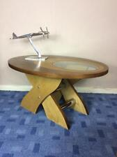Vintage two tone Teak glass and chrome oval coffee table