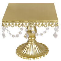 "10"" Cake Stand Cupcake Crystal Metal Dessert Tower Display Plate Holder Wedding"