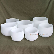 432Hz Chakra Tuned Set of 7 Frosted Crystal Singing Bowls 8''-12''