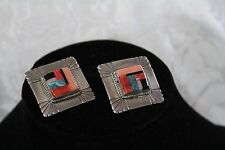 Multi-Stone Large Square Shaped Coral/Turquoise Post Earring Handmade Silver
