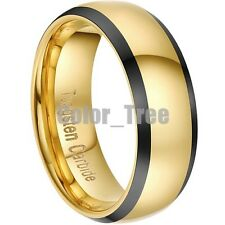 8mm Dome Gold Plated Tungsten Carbide Ring Men Jewelry Wedding Band size 10