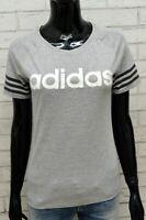 Maglia Donna Adidas Taglia S Camicia Polo Grigia Manica Corta Shirt Woman