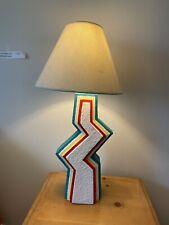 Vintage MCM Art Deco Zig Zag Ziggurat Plaster Table Lamp 1980s