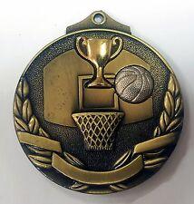 Basketball 3D 50mm Diameter Medal Inc Neck Ribbon / Engraving