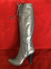 Costume National Gray Leather Boots With Shearling Lining Inside Size 39
