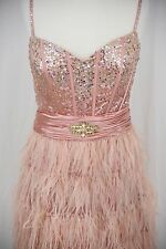 NWOT ~ Pink Sequined Top w/ Feathers Homecoming Party Cocktail Dress ~ Size 16