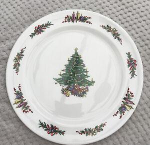 "Cable Ceramics Bone China Xmas Tree Round Serving Platter Plate 12.4"" Perfect"