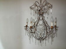 c1940 RARE Crystal Beaded Hot Air Balloon Shape French Maison Bagues Chandelier~