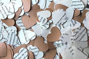 Heart Wedding Table Decoration - Romantic Book Confetti & Kraft Paper / Vintage