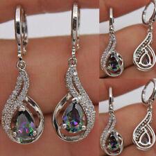 Hollow Topaz Zircon Drop Earrings Party 18K White Gold Filled Women Mystical