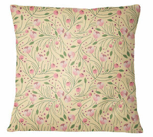 S4Sassy Decorative Floral Printed Pale Yellow Pillow Cover Throw-yVS