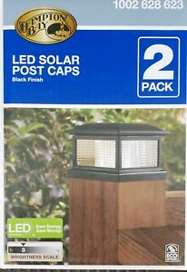 NEW! LED SOLAR POST CAPS, HAMPTON BAY #1002628623, 4x4 or 6x6 POSTS, QTY. 2 NEW!