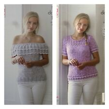 KNITTING PATTERN Ladies Off Shoulder Lace Top & Lace Jumper DK King Cole 5043