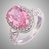 Size L N P R T V  Pink & White Topaz Gemstones Silver Ring Oval Cut Love Style