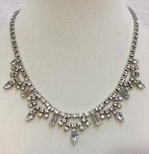 "Kramer Rhinestone Collar Necklace Wedding Glass Crystals 15"" Silver Tone Metal"
