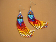 native american inspired beadwork fringe extra long gradient earrings