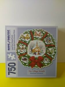 Bits and Pieces - The Village Wreath - 750 Piece Puzzle - 25 X 24