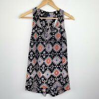 Ella Moss Black Geometric Aztec Silk Tank Top Women's Size Extra Small XS