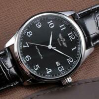 WINNER Herren Auto mechanische Uhr PU Lederband Skeleton DE Dial Armbanduhr P5R1