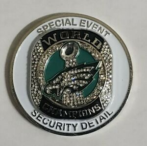 PHILADELPHIA EAGLES SUPER BOWL 52 LII POLICE SECURITY RING CHALLENGE COIN RARE