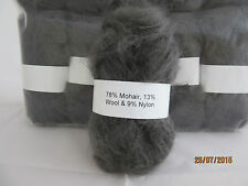 Mohair Wool Yarn 10 x 50g Balls Dark Grey 78% Mohair Double Knitting
