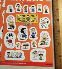 Small Sheet 17 Peanuts Cartoon Stickers Schultz Charlie Brown Snoopy Woodstock+