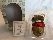 """Charming Tails """"Nutty For The Holidays"""" Mouse Glass Christmas Ornament"""