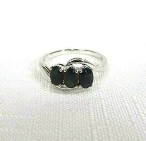 1.98 ct Natural Black Sapphire Solid Sterling Silver Three-Stone Ring size 9