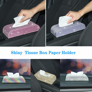 Shiny Crystals PU Leather Tissue Box Paper Holder Case Cover For Home Car