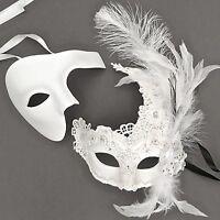 White Accent Phantom Opera & Venetian Brocade Feather Masks