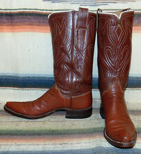Womens Vintage RARE Frank Leddy Brown Leather Handmade Cowboy Boots 6.5 M VGC