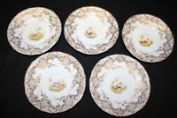 5 Mid-19th Century English Porcelain Saucers; Hand-painted Bird Motif w/ Gold