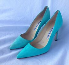 Manolo Blahnik BB Mint Green Suede Classic Pumps Size 37/7
