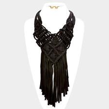 """18"""" black jersey crochet fringe tassel choker collar bib necklace .50"""" earrings"""
