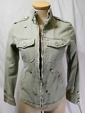 Kiliwatch Paris Women Size 0 Distressed Denim Jean Jacket Full Zip Military Look