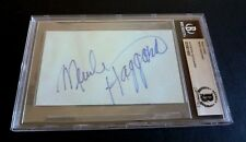 Merle Haggard Signed Autographed 3x5 Index Card Beckett Certified & Slabbed