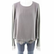 PRINCESS GOES HOLLYWOOD Bluse Gr 36 Taupe mit Seide Spitze Glanz NP 129,- NEU