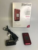 GreatCall Jitterbug Flip Big Buttons Cell Phone - RED Tested Working Alcatel