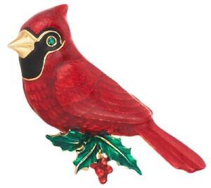 Joan Rivers Red Christmas Cardinal Flights of Fantasy Pin Brooch