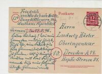 Germany 1946 Bad Tolz Cancels Allied Occupation Stamp Card to Dresden Ref 25859