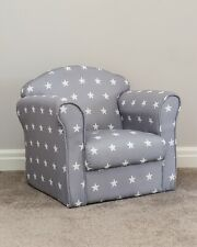 Kids Children?s Chair Armchair Sofa Seat Fabric Upholstered Bedroom Playroom Grey With White Stars